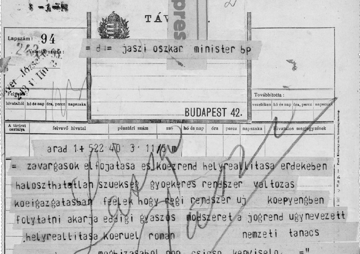 Egyike a fentmaradt sürgönyöknek. A feladó: Stefan Cicio-Pop. A címzett: Jászi Oszkár | Forrás: Magyar Nemzeti Levéltár