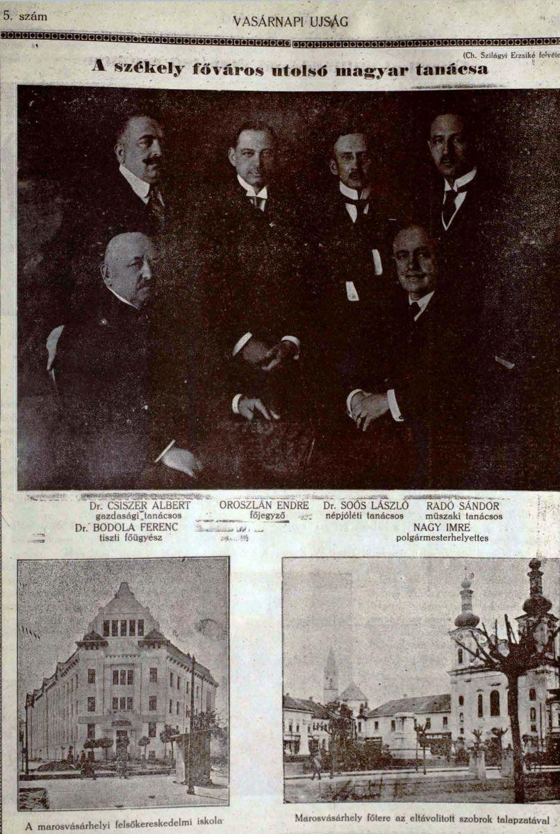 A Vasárnapi Újság képes mellékletében korbeli felvételeken láthatókaz utolsó magyar városi tanács tagjai, illetve a kép jobb alsó sarkában a főtér az eltávolított szobrok csupasz talapzataival