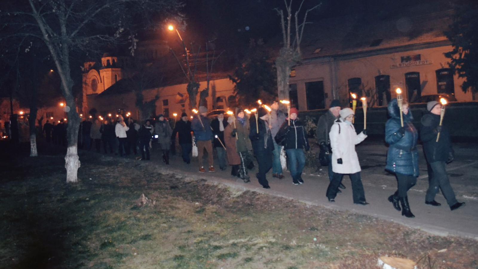 A nagyeneydi magyarok fáklyás felvonulása az 1849. január 8.-i események évfordulóján